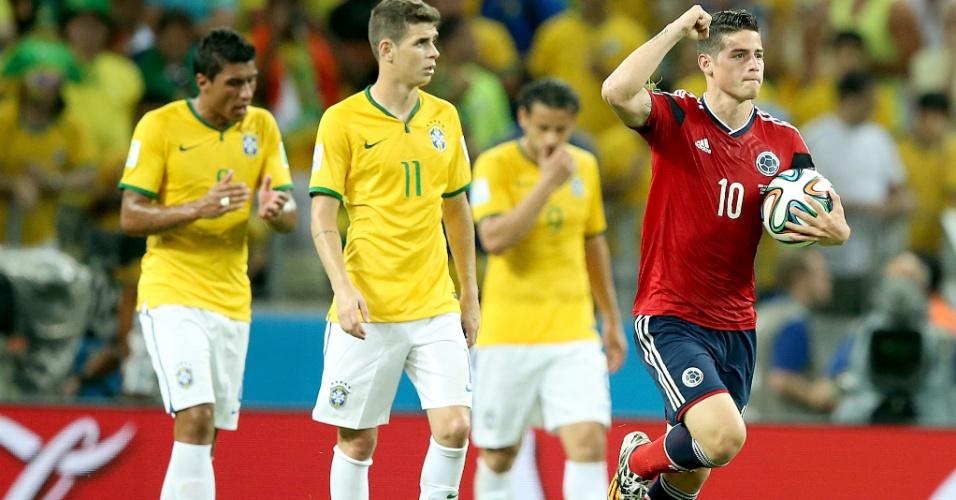 04.jul.2014 - James Rodríguez comemora o único gol da Colômbia na vitória brasileira por 2 a 1 no Castelão