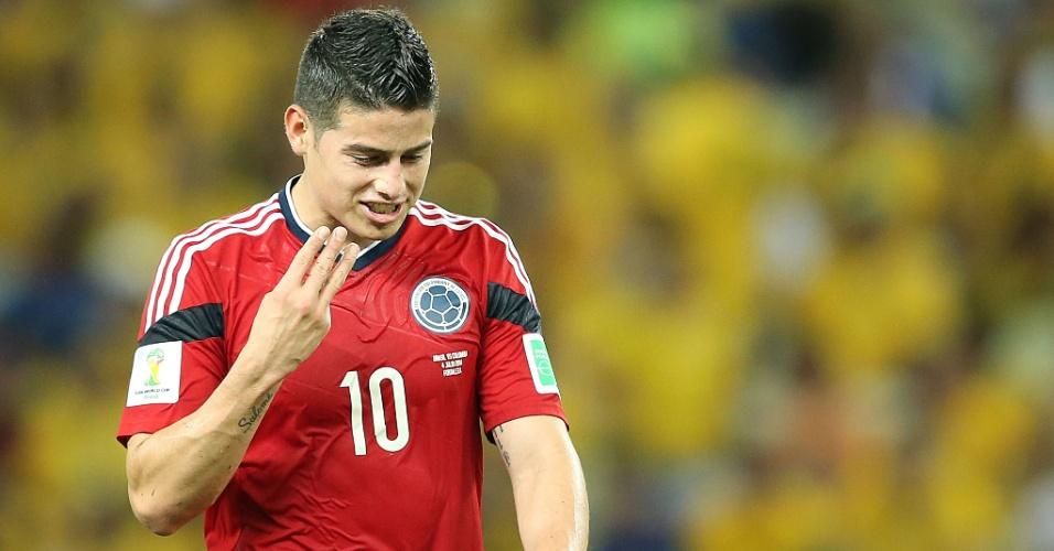 04.jul.2014 - James Rodríguez foi o grande destaque da Colômbia na Copa, mas não conseguiu evitar a eliminação de sua equipe após a derrota por 2 a 1 para o Brasil
