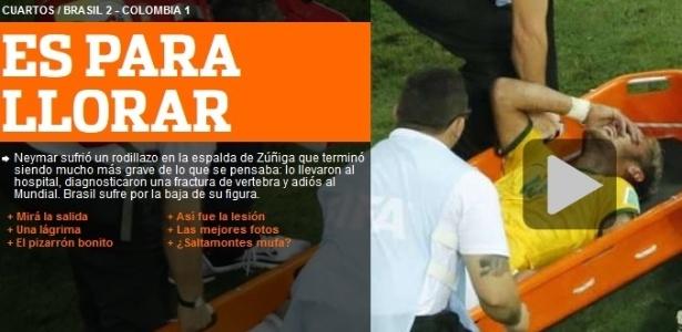 Até o Olé, da Argentina, mostrou surpresa com a lesão de Neymar: 'é para chorar'