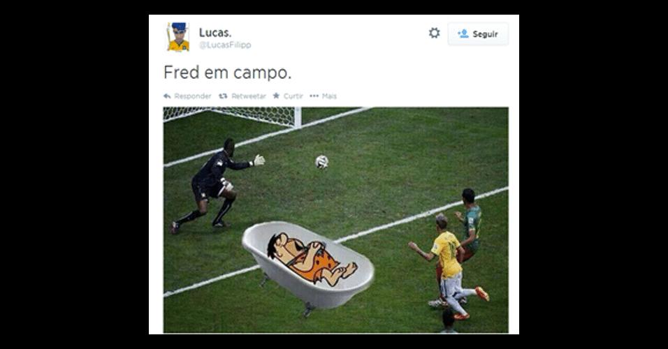 Montagem de Fred jogando contra Camarões voltou a bombar na internet no jogo de hoje