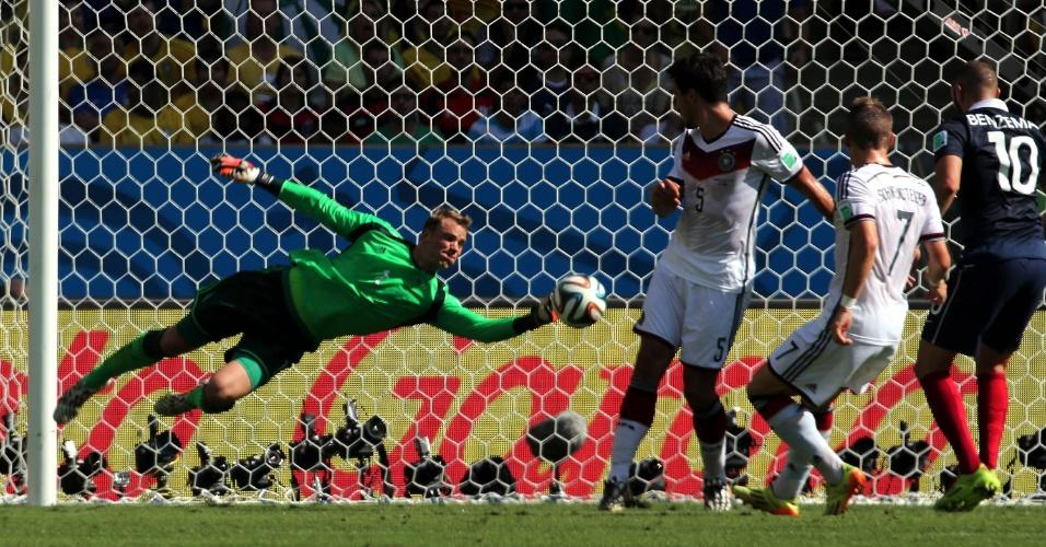Neuer 'voa' na bola e defende chute de Valbuena na partida entre Alemanha e França
