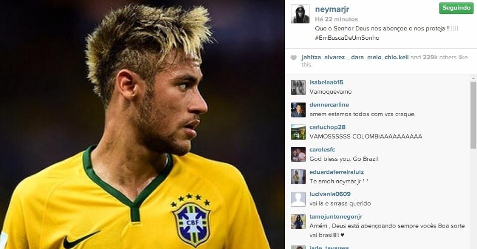Neymar divulga uma prece antes da partida decisiva entre Brasil e Colômbia