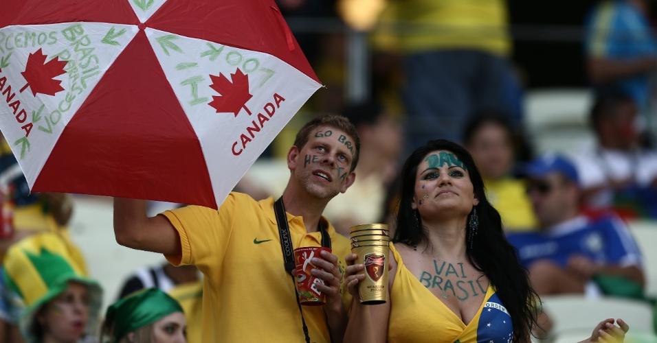 O torcedor é canadense, mas a torcida vai para o Brasil no Castelão, antes do jogo contra a Colômbia