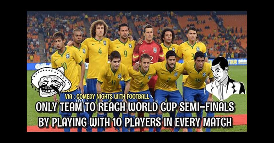 """""""Parabéns ao Brasil, o único time nas semifinais jogando todos os jogos com 10 jogadores"""". Internautas brincam com pouca participação de Fred"""