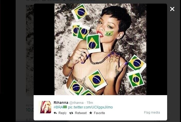 Rihanna sensualiza na torcida pelo Brasil durante a partida contra a Colômbia pelas quartas de final da Copa