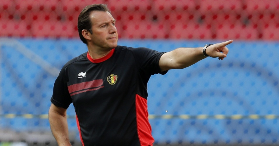 Técnico da Bélgica Marc Wilmots comanda treino da seleção, no estádio Mané Garrincha