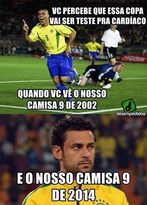 Você percebe que essa Copa vai ser teste para cardíaco quando compara o camisa 9 do Brasil em 2002 com o atual