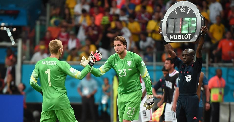 Holanda adotou tática diferente e trocou o goleiro para as cobranças de pênalti em partida contra a Costa Rica