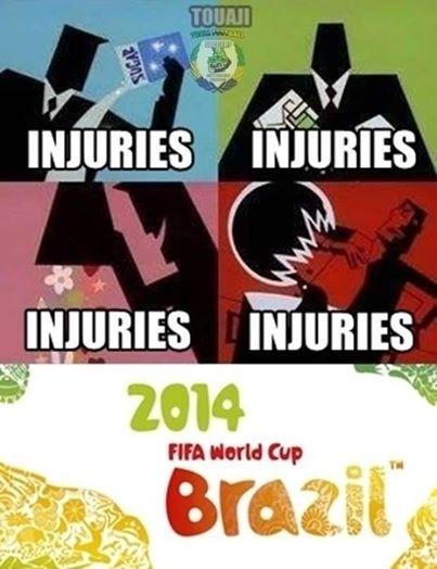 Lesões, lesões e lesões. Copa está recheada de jogadores machucados