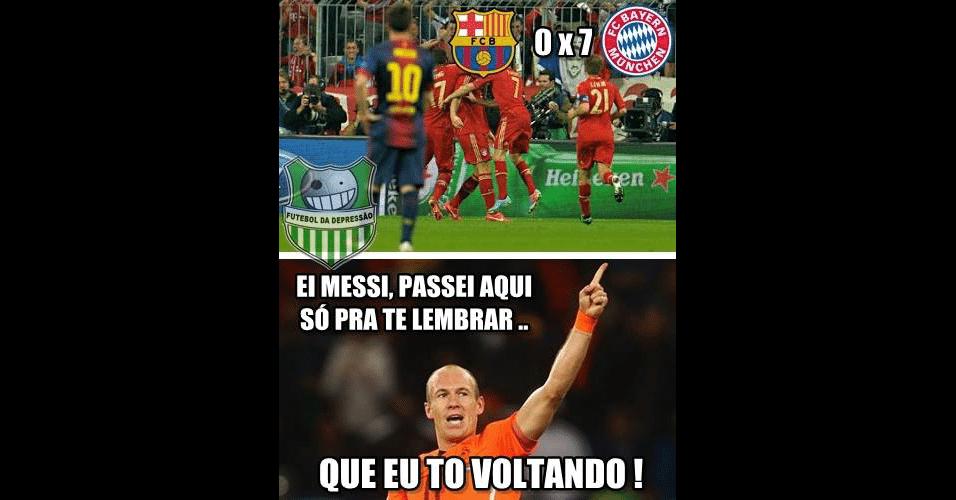 No último duelo entre os dois craques, Robben levou a melhor sobre Messi