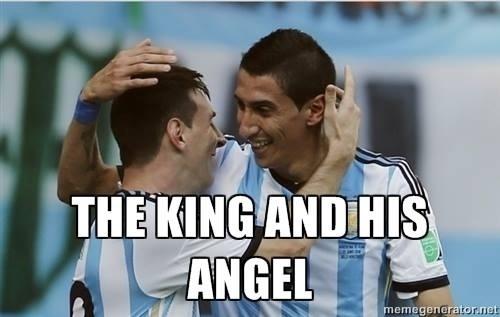 """""""O rei e seu anjo"""". Internautas exaltam os atletas e brincam com primeiro nome de Angel Di Maria"""
