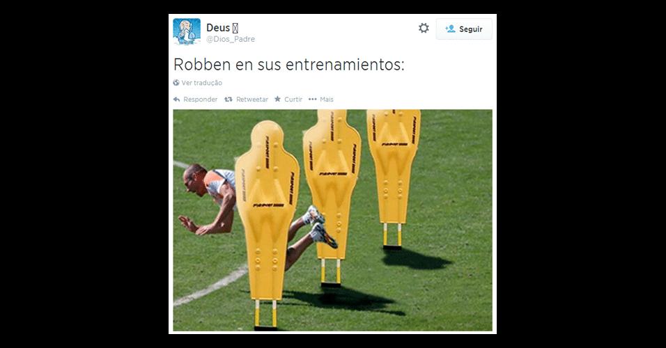 """""""Robben em seu treinamento"""". Fama de cai cai do jogador holandês foi motivo de piada na web"""