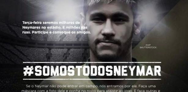 06.jul.2014 - Grupo que criou campanha contra racismo pede que brasileiros usem máscaras com o rosto de Neymar