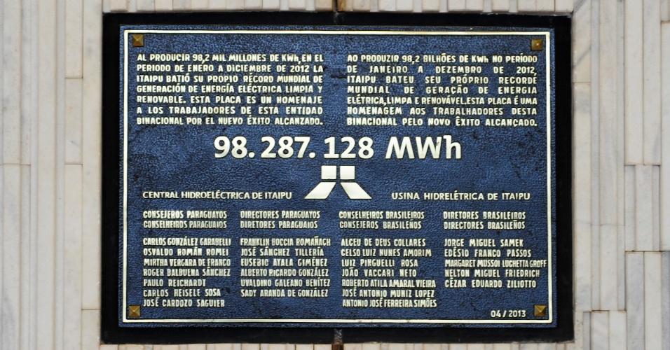 Placa nas dependências de Itaipu celebra o recorde de produção de 2012. No entanto, a usina já bateu seus números mais uma vez, em 2013, com 98,6 milhões de MWh produzidos