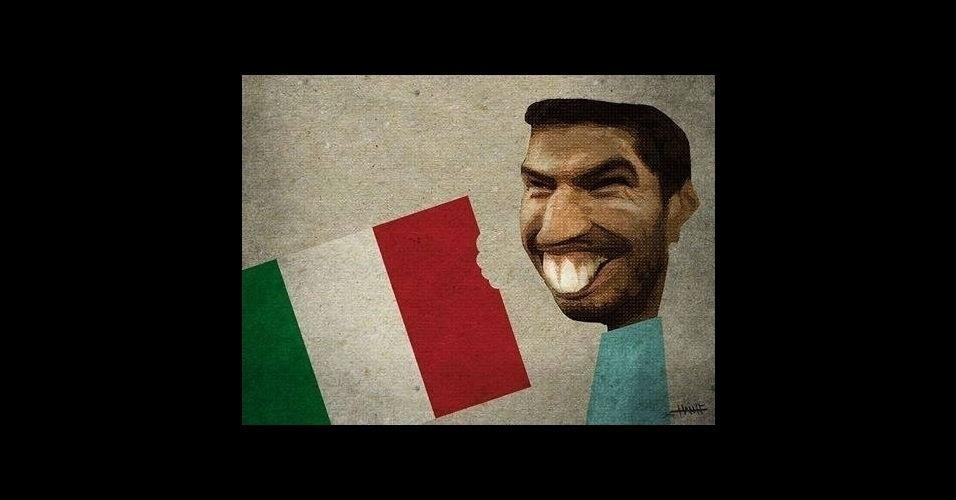Nem a bandeira italiana escapou do atacante do Uruguai