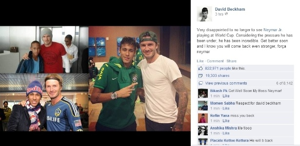 Beckham manda mensagem de apoio para Neymar