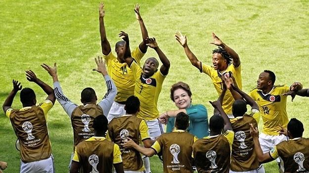 Dilma Rousseff fez gesto em homenagem a Neymar, mas também poderia estar no meio do Armeration
