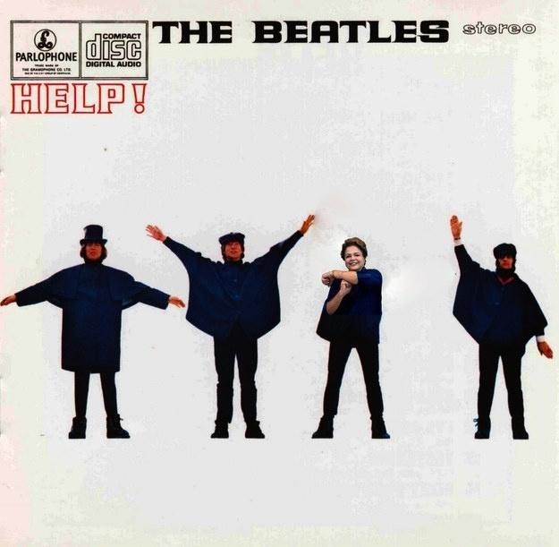 """Gesto de Dilma em homenagem a Neymar foi parar na capa do disco """"Help"""", dos Beatles"""