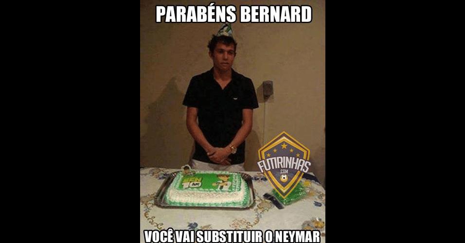 Internautas já brincam com possível escolha de Felipão para substituir Neymar. Detalhe para o bolo