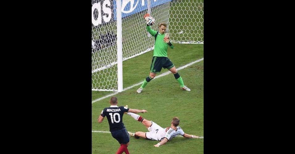 Neuer tem sido idolatrado nas redes sociais. Nesta montagem, ele não teve muito esforço para defender chute de Benzema