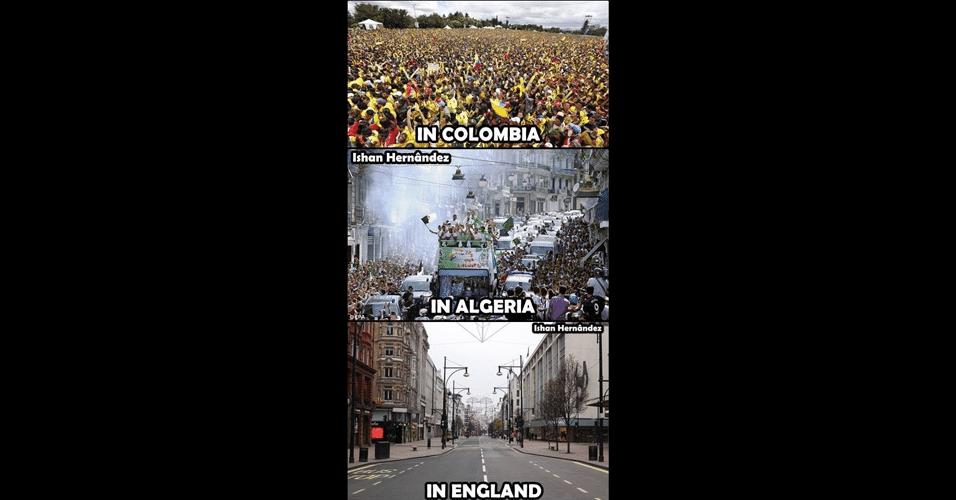Para os internautas, não houve festa na chegada da seleção inglesa na Inglaterra
