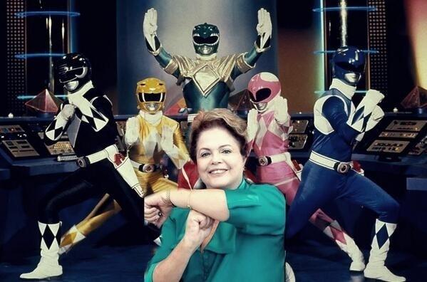 Power Rangers contra a corrpução? Não, é a Dilma fazendo gesto de apoio a Neymar