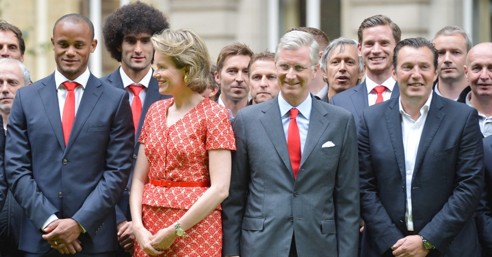 07.jul.2014 - Seleção belga é recebida pelo Rei Filipe e Rainha Mathilde no Palácio Real em Bruxelas