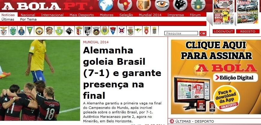 """A Bola, de Portugal, chamou a derrota de um """"autêntico Maracanazo parte 2, agora no Mineirão, em Belo Horizonte?"""