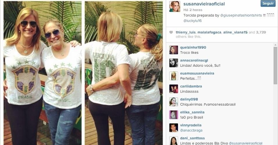 Atriz Susana Vieira está preparada e uniformizada para apoiar o Brasil contra a Alemanha