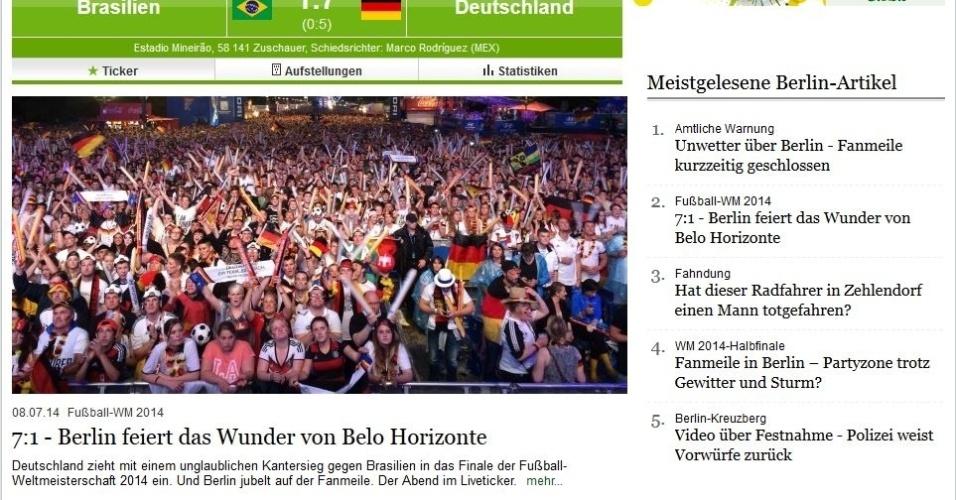 """""""Berlim celebra o milagre de Belo Horizonte"""", afirma o jornal alemão Berliner Morgenpost"""