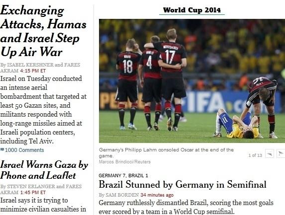 """""""Brasil atordoado pela Alemanha na semifinal. Alemanha, impiedosamente, desmonta o Brasil com recorde de gols de uma equipe em uma semifinal de Copa"""", manchetou o New York Times."""