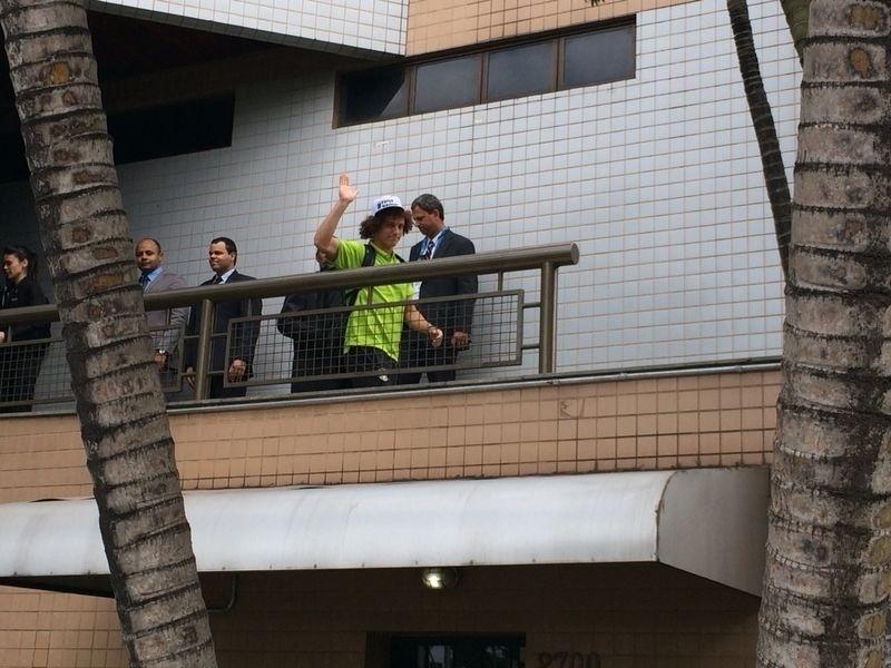David Luiz deixa o hotel onde a seleção brasileira estava hospedada para ir ao Mineirão, palco da partida contra a Alemanha