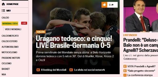 """""""Furacão alemão, e cinco!"""", diz jornal italiano Gazzetta Dello Sport sobre goleada de 5 a 0 da Alemanha sobre o Brasil no primeiro tempo"""