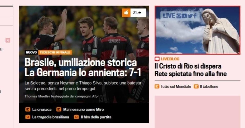 Gazzetta dello Sport, da Itália, fala em 'humilhação histórica' e coloca o Cristo Redentor chorando
