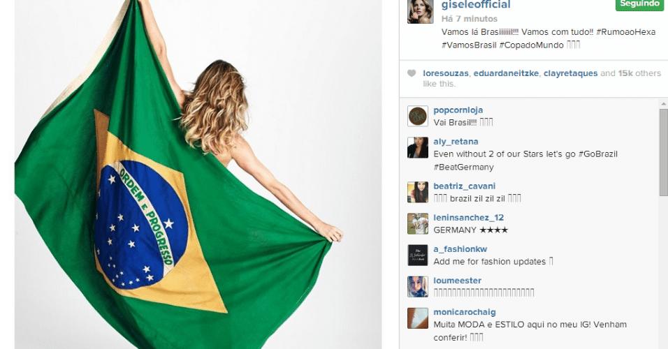 Gisele Bündchen posta foto com a bandeira do Brasil antes do jogo contra a Alemanha