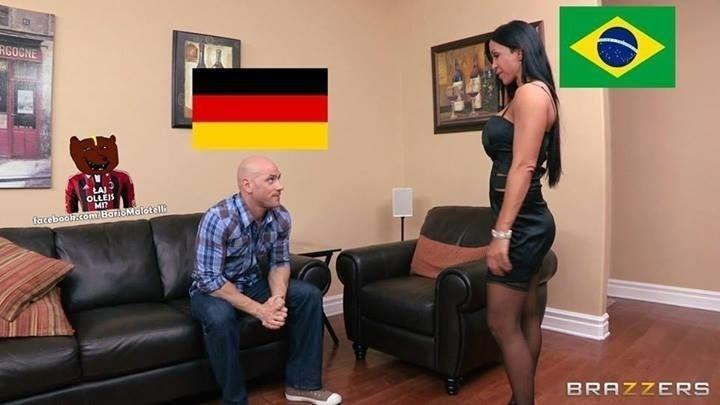 Goleada da Alemanha sobre o Brasil está tão obscena que está sendo transmitida também pelo Brazzers