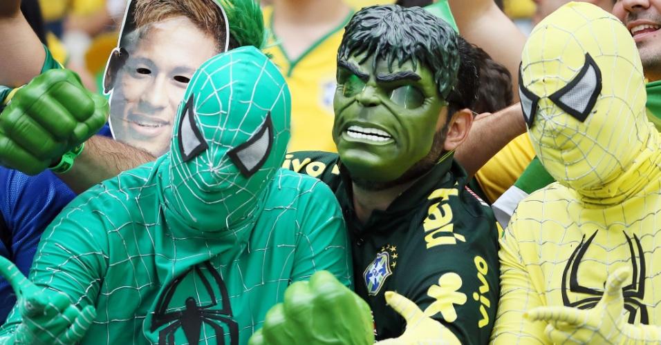 Hulk levou até o Homem-Aranha ao Mineirão para acompanhar o jogo entre Brasil e Alemanha