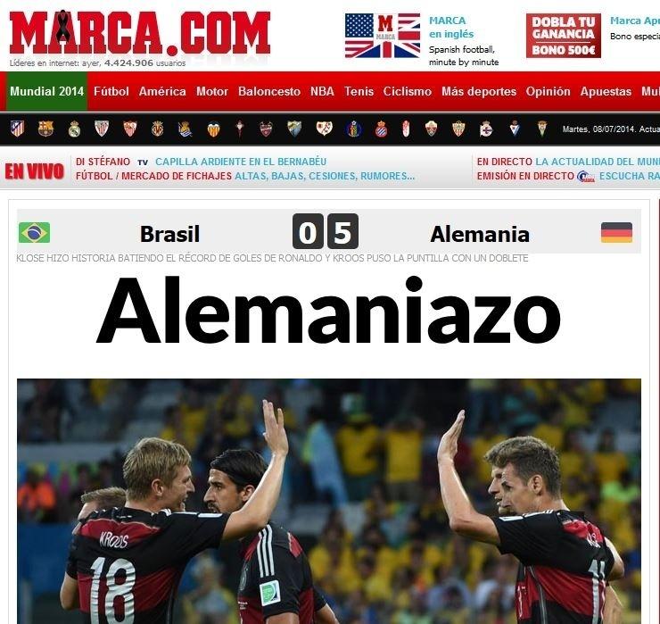 """Jornal Marca, da Espanha, fala em """"Alemaniazo"""" após a seleção da Alemanha fazer o quinto gol no Brasil"""