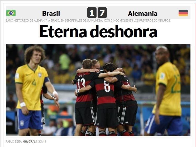 Jornal Marca, da Espanha, fala em 'eterna desonra' após goleada sofrida pelo Brasil, em casa