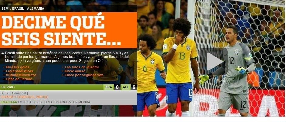 Jornal Olé, da Argentina, tira sarro dos brasileiros quando o placar marcava 6 a 0