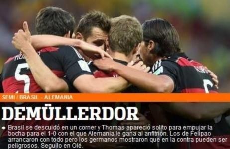 "Jornal Olé, da Argentina, exalta Thomas Müller durante o jogo entre Alemanha e Brasil: ""Demmüllerdor"""