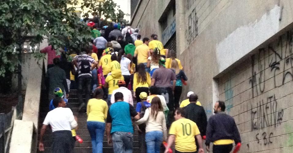 Meia hora depois do início do jogo os torcedores começaram a deixar a Fan Fest em São Paulo