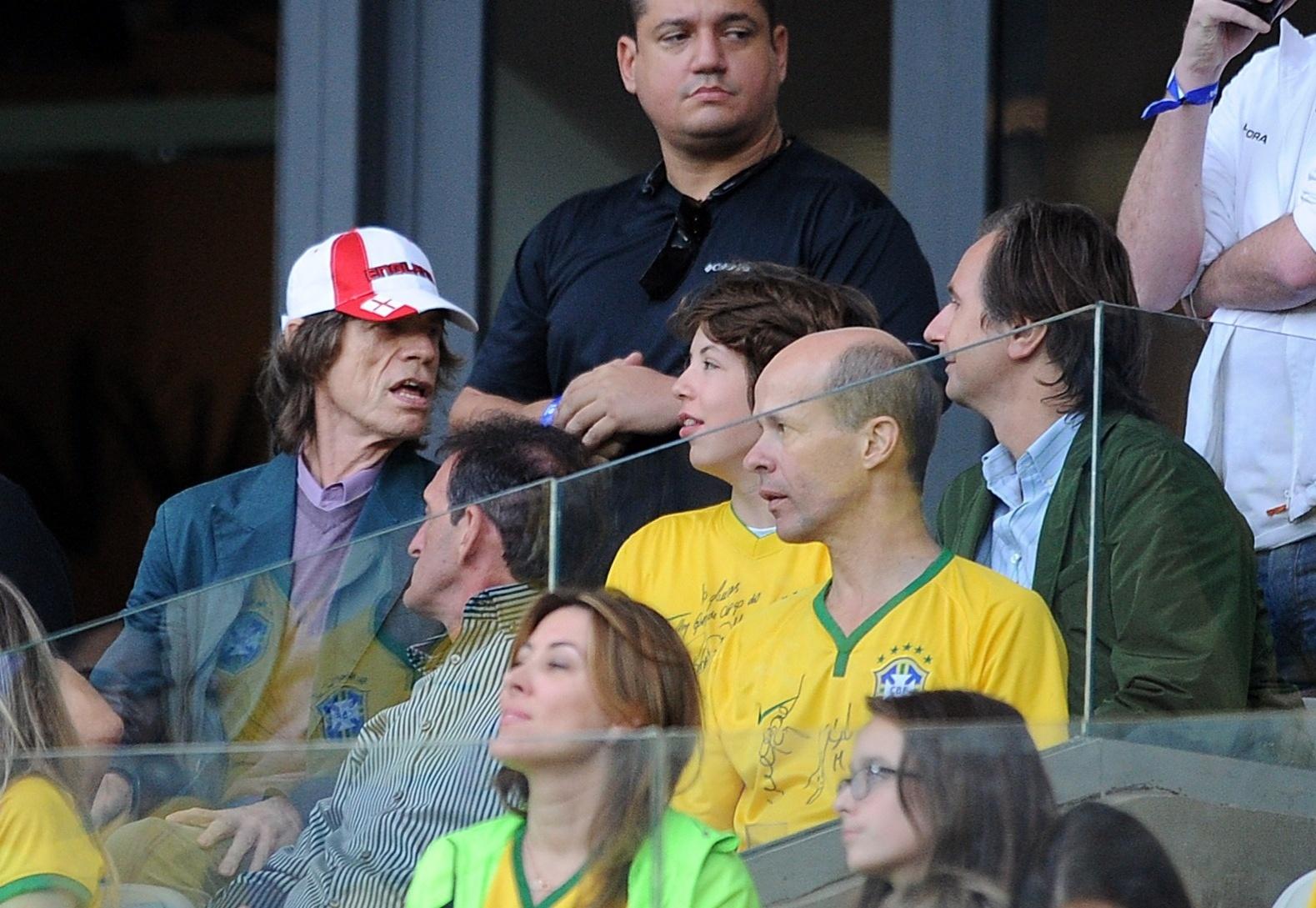 Mick Jagger, vocalista da banda Rolling Stones, assiste ao jogo entre Brasil e Alemanha pelas semifinais da Copa do Mundo no Mineirão (08/07/2014)