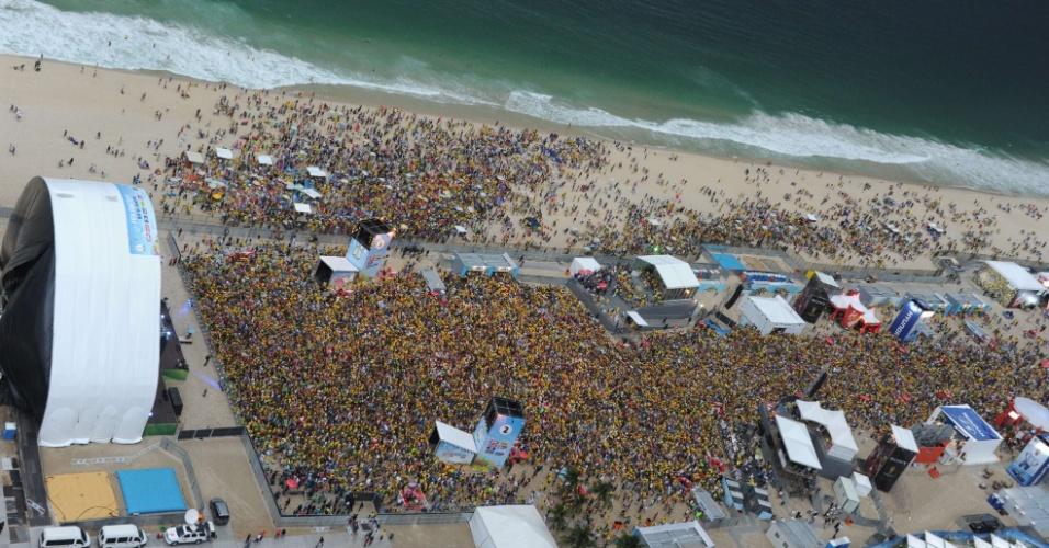 Multidão lota a Fan Fest do Rio de Janeiro para acompanhar o jogo entre Brasil e Alemanha, no Mineirão