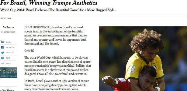 Jornal critica o futebol do Brasil e usa imagem de David Luiz 'enforcando' jogador chileno