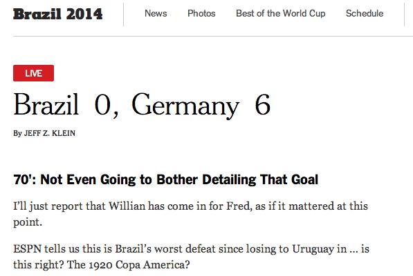 New York Times tripudia do Brasil em outro gol alemão
