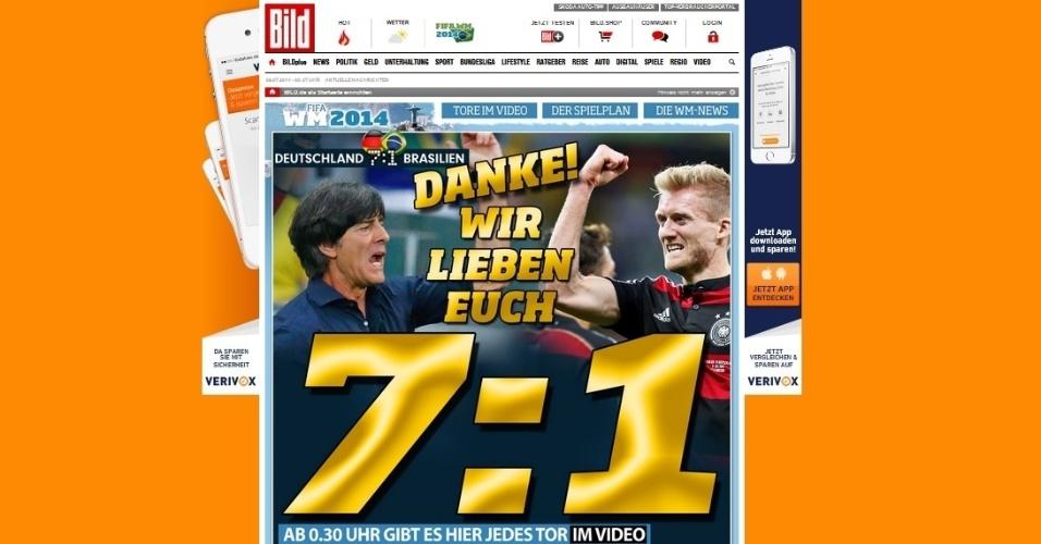 'Obrigado! Nós amamos vocês', manchetou o Bild ao fim da goleada alemã