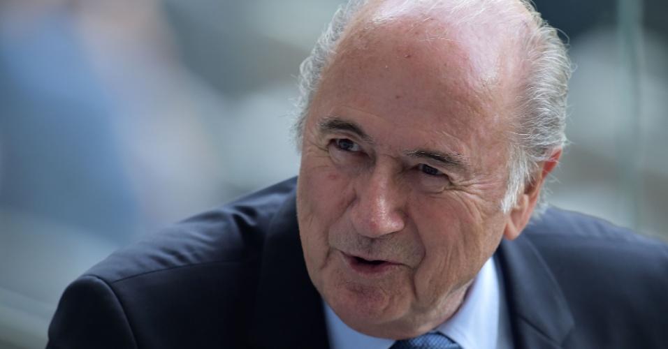 08. jul. 2014 - Presidente da Fifa, Joseph Blatter, vai ao Mineirão acompanhar a semifinal entre Brasil e Alemanha