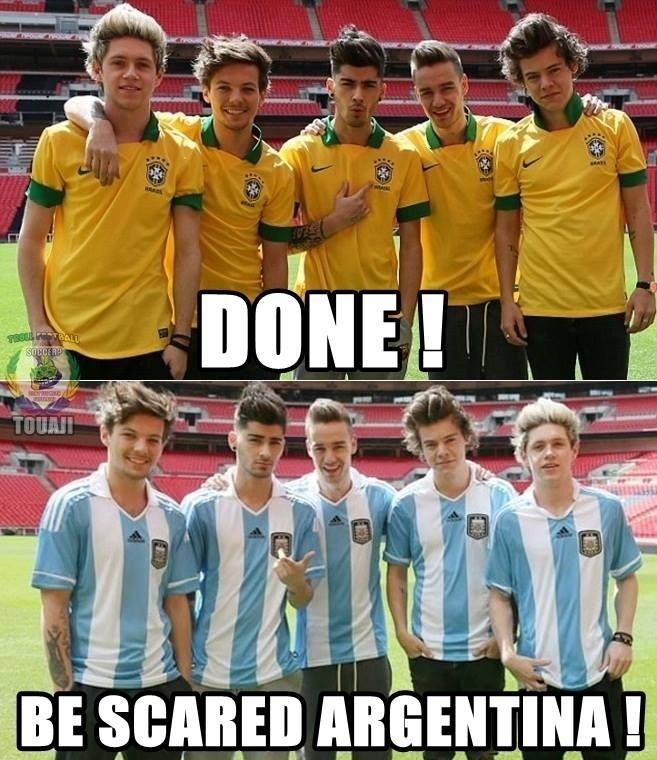 """""""Pronto. Fique assustada, Argentina"""". Os músicos do One Direction não deram sorte ao Brasil. Será que com a Argentina será diferente?"""