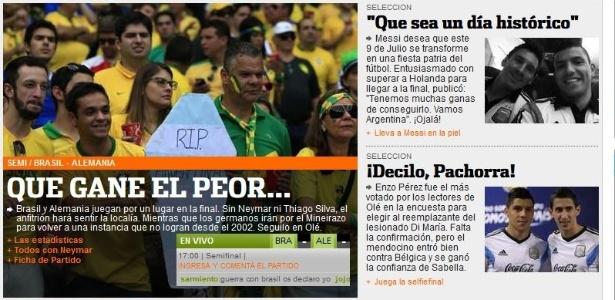 Chamada do jornal Olé pede que 'o pior' passe para a final e seja o possível adversário da Argentina